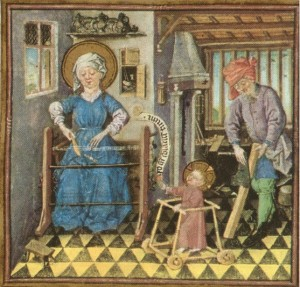 The Holy Family at Work. From the Book of Hours of Catherine of Clèves.