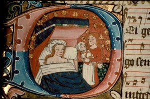 A midwife presents St Anne, naked except for a white cap, with the baby Mary. Ranworth Antiphoner, fol 257.